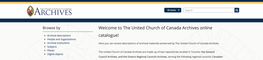 Screen captured of Archives catalogue page.