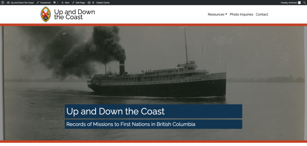 Screenshot of Up and Down the Coast website.